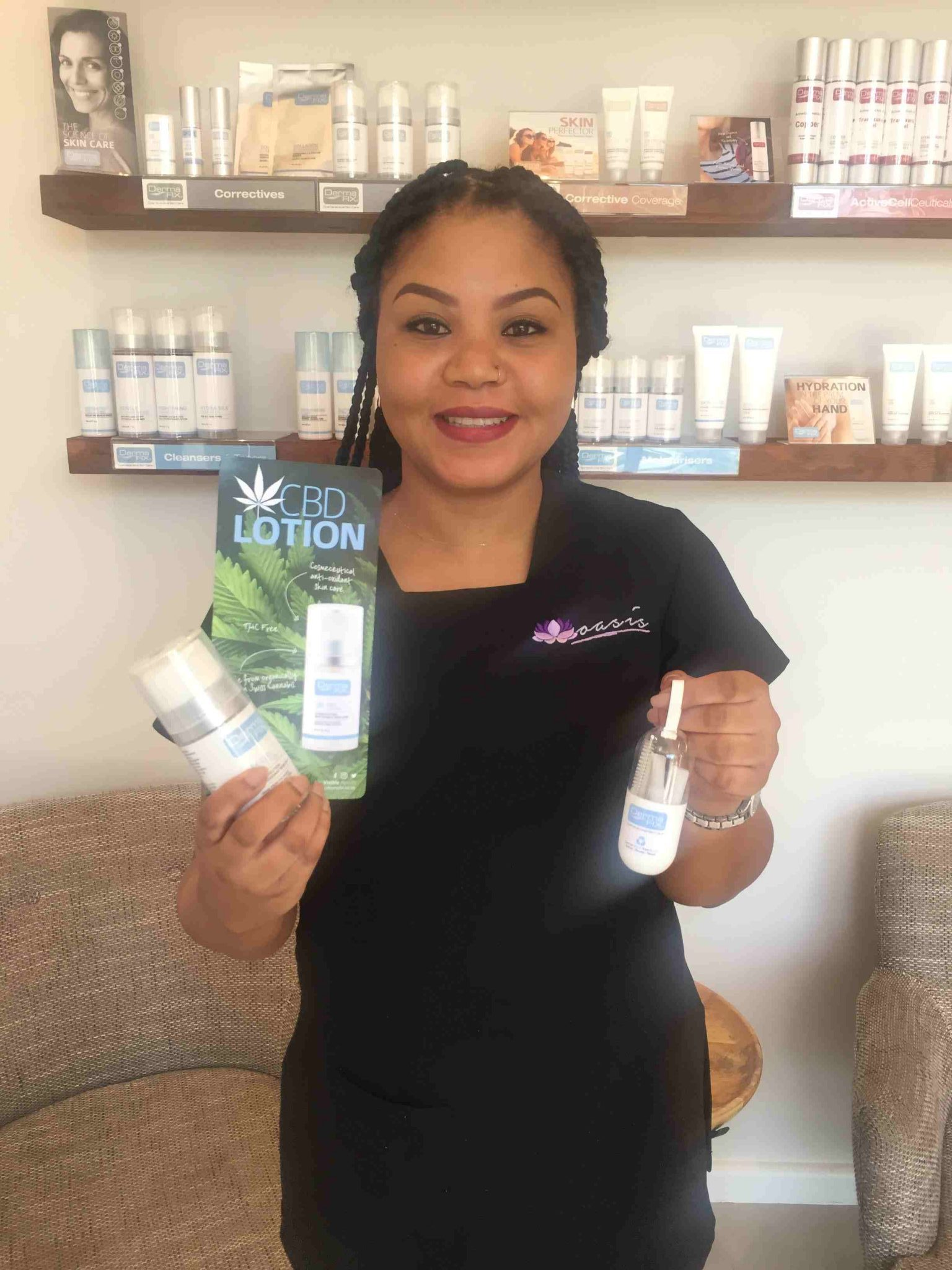 lady with cbd products